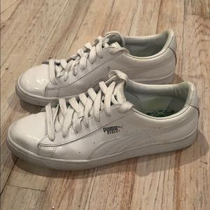 Puma Basket White Patent Leather Sneakers - W 9.5